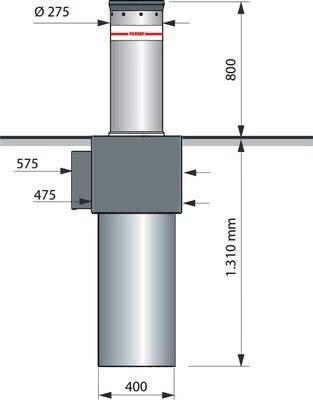 Dimensions de la borne talos M30 anti-véhicule bélier